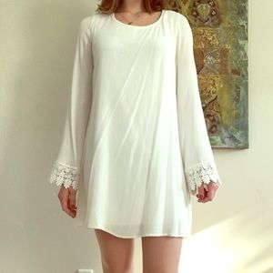 Guess M sized long sleeved white dress